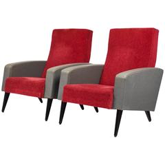 Pair of Modernist French Armchairs in the Manner of Pierre Guariche
