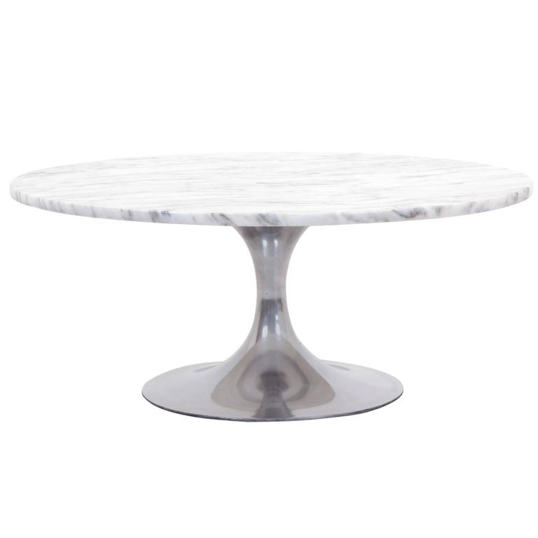 Marble And Aluminum Round Coffee Table In The Style Of Saarinen For Knoll For Sale At 1stdibs