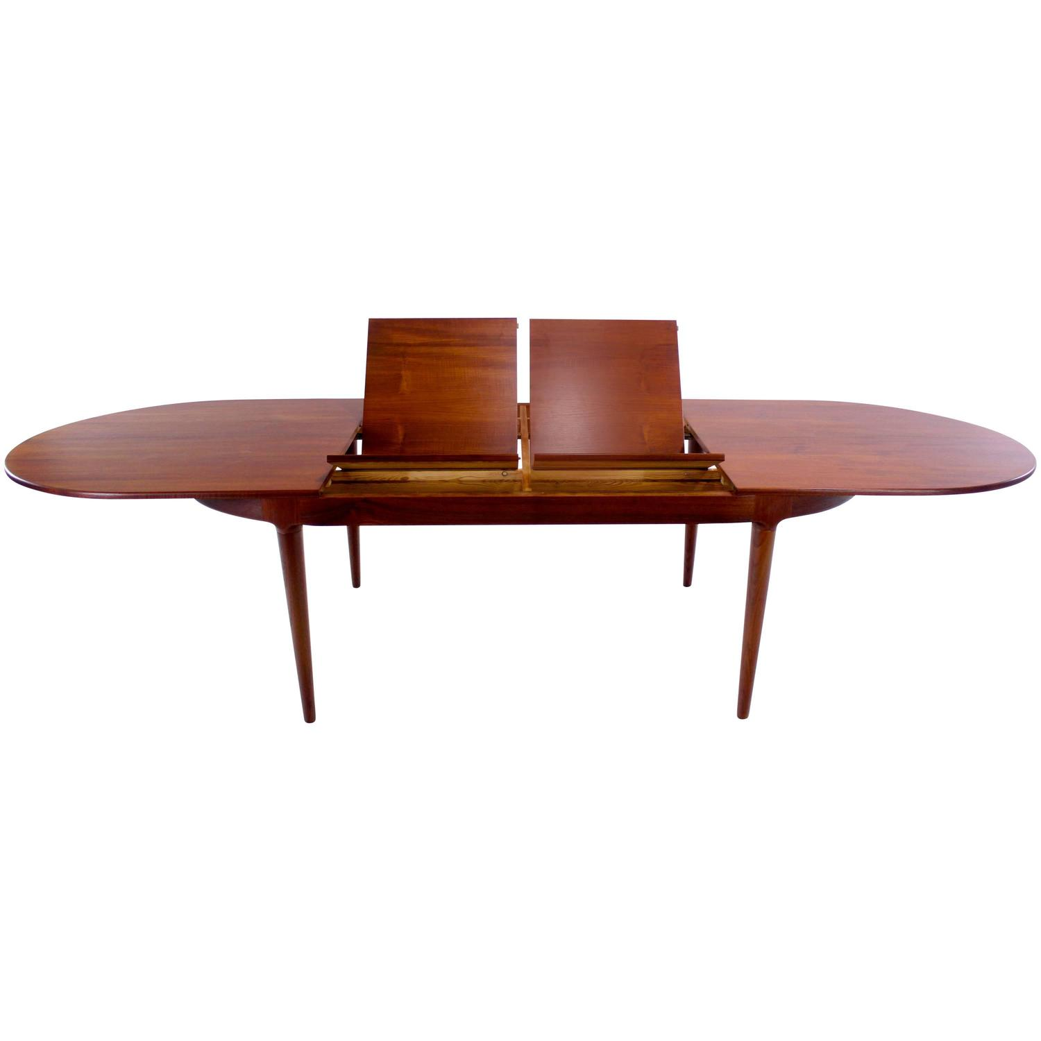 danish modern oval butterfly leaf teak dining table by arne hovmand