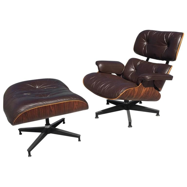 1970s Eames Herman Miller Lounge Chair And Ottoman Rare Dark Brown Leather At