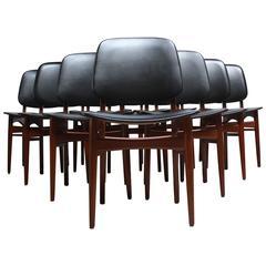 Set of Ten Danish Modern Dining Chairs in Teak