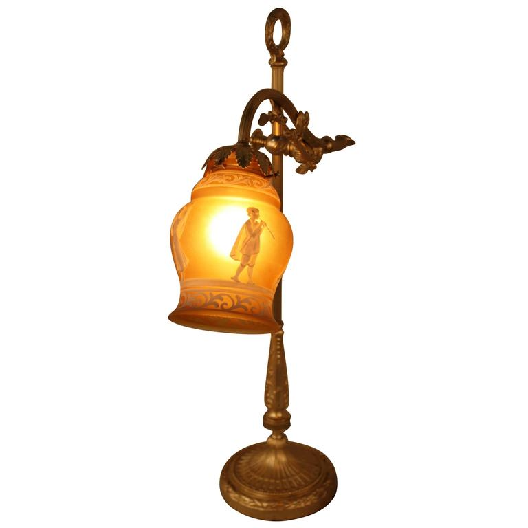 French Bronze Table Lamp With Cameo Glass Shade For Sale