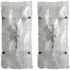 Pair of Crackled Sconces by Venini