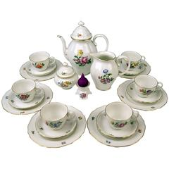 Augarten Vienna Coffee Set Six Persons Decor Blumenbouquet Form Mozart