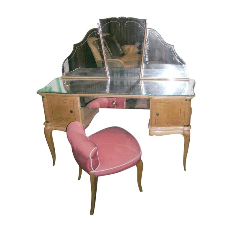 French Sycamore Dressing Table and Chair For Sale