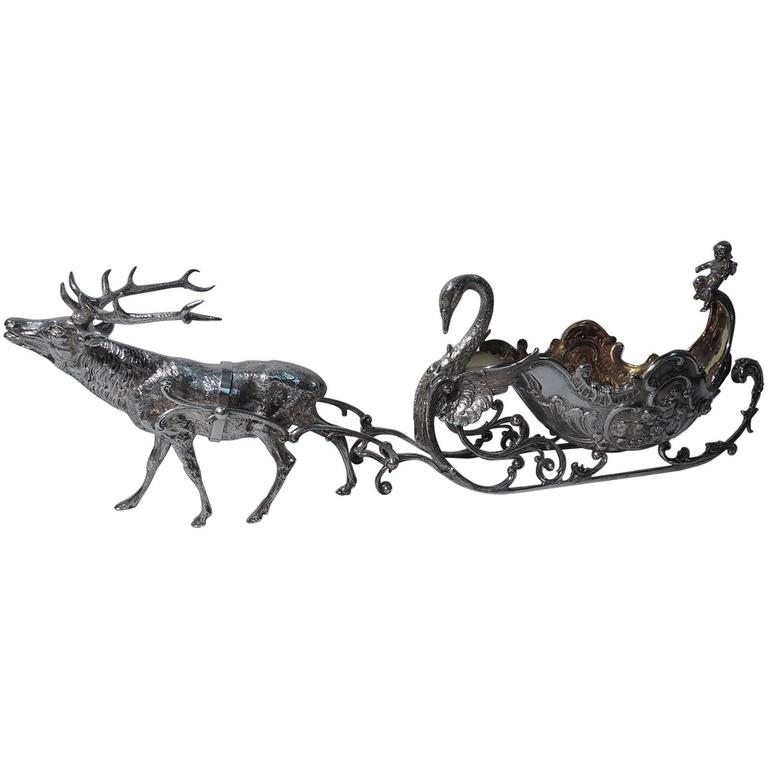 German Rococo Style Sterling Silver Reindeer Harnessed Sleigh For Sale At 1stdibs