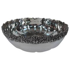 Antique Tiffany Sterling Silver Bowl with Flowers and Scallop Shells