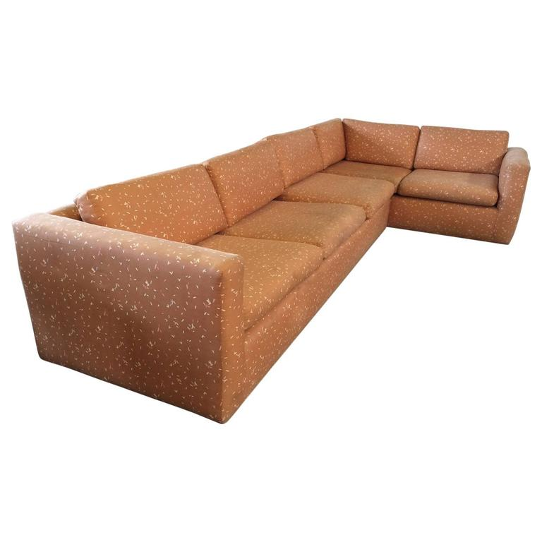 Large sectional sofa with pullout bed by milo baughman at for Oversized sectional sofa bed