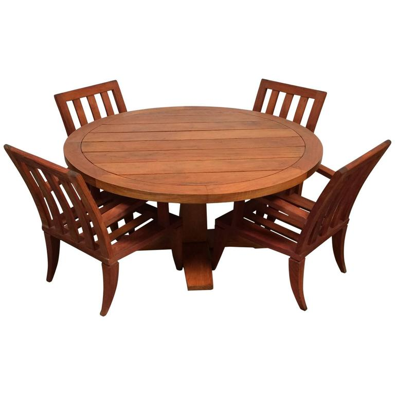 Teak Outdoor Dining Set, Sturdy Table And Chairs At 1stdibs