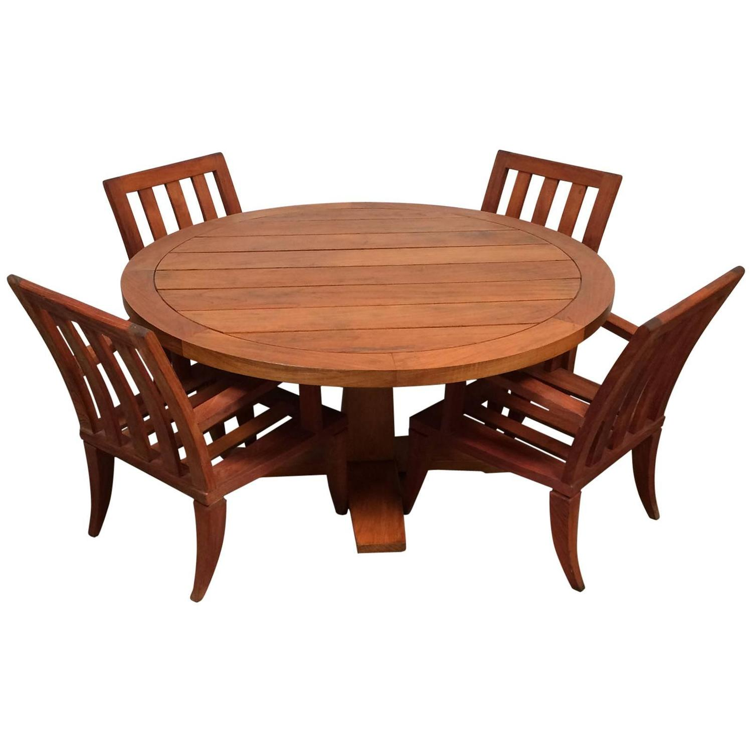 Teak outdoor dining set sturdy table and chairs at 1stdibs for Outdoor teak dining table