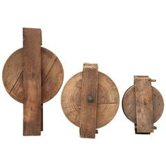 Collection of Industrial Late 19th Century Maple Dumb Waiter Pulleys