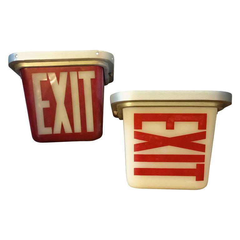 Wall Mounted Exit Lights : Mid-Century Flush Mount and Wall Sconce Double-Sided Exit Lights at 1stdibs