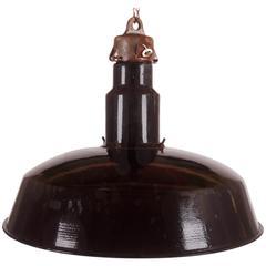 Large Black Enameled Czech Factory, Industrial Pendant Lamp