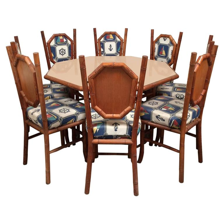 Nautical Themed Card Table and Chairs in Red Wood Faux Bamboo