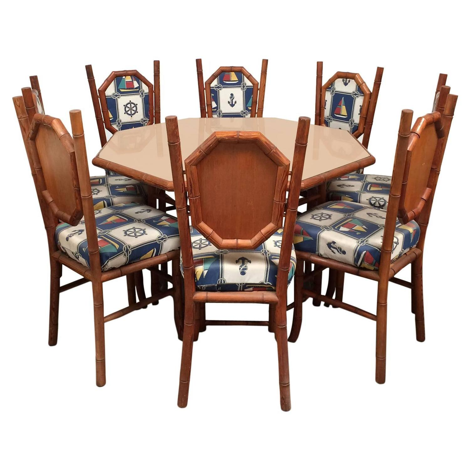 Nautical themed card table and chairs in red wood faux