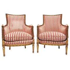Fine Pair of French 19th-20th Century Louis XVI Style Giltwood Carved Bergères