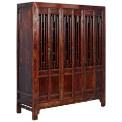 Antique Red Lacquered Six-Door Bookcase Cabinet from China, circa 1840-1860