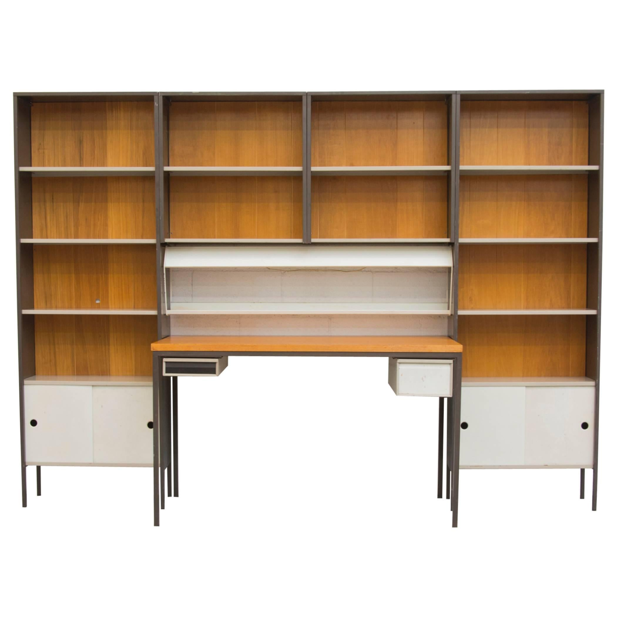 Stainless Steel Pace Wall Unit With Lacquered Burl Wood Cabinets