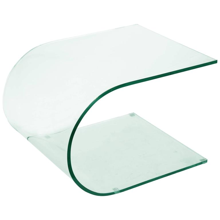 Contemporary Tempered Glass Curved Side Table 1