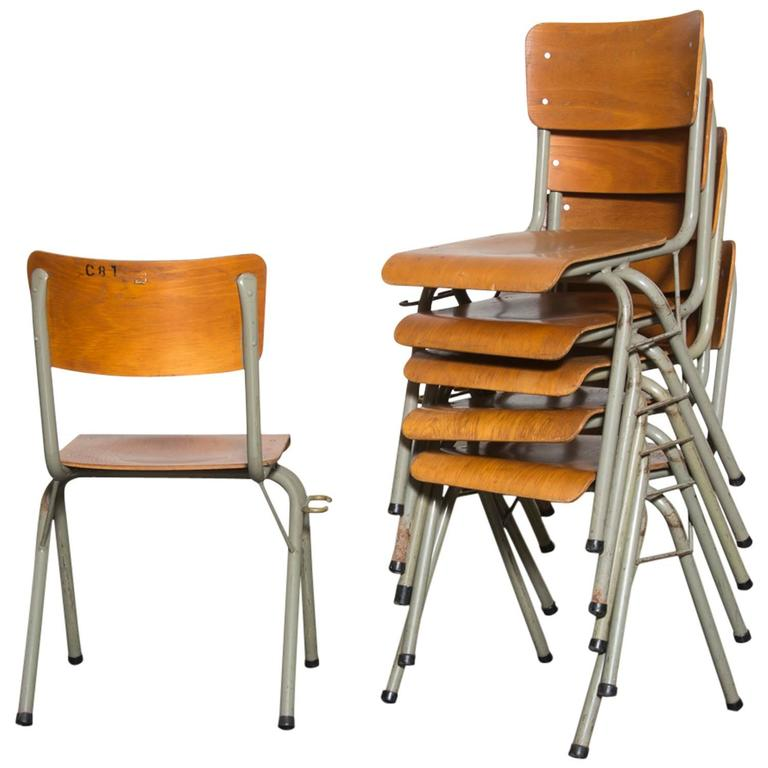 Tubax birch stacking school chairs with side hooks at 1stdibs for School furniture