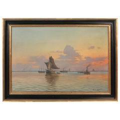 Large Oil on Canvas Ships in Harbor Entrance at Sunset, Signed Wilhelm Lange