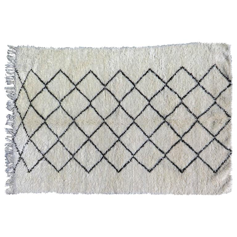 Beni Ourain Moroccan White and Black Rug