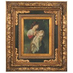 Original Oil on Panel of Mother and Child, Unidentified Artist, Signed