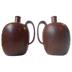 Pair of Matching 1930s Liquor Bottles / Vases by Arne Bang Red/Brown Sung Glazes