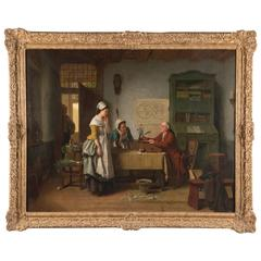 """19th Century Belgian Painting Titled """"L'Écrivain Public"""" by Jean Carolus"""