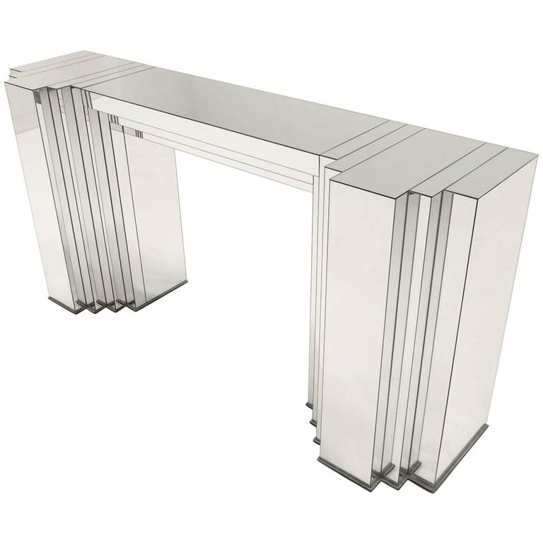 Art Deco Skyscraper Mirrored Console Table Attributed to Paul Frankl