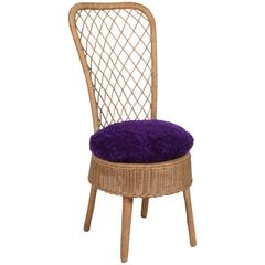 Rattan High Back Chair by Jean Royère