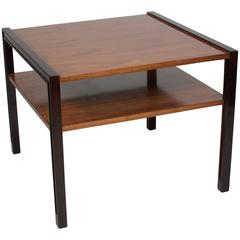 Mahogany and Walnut Two-Tier Occasional Table by Edward Wormley