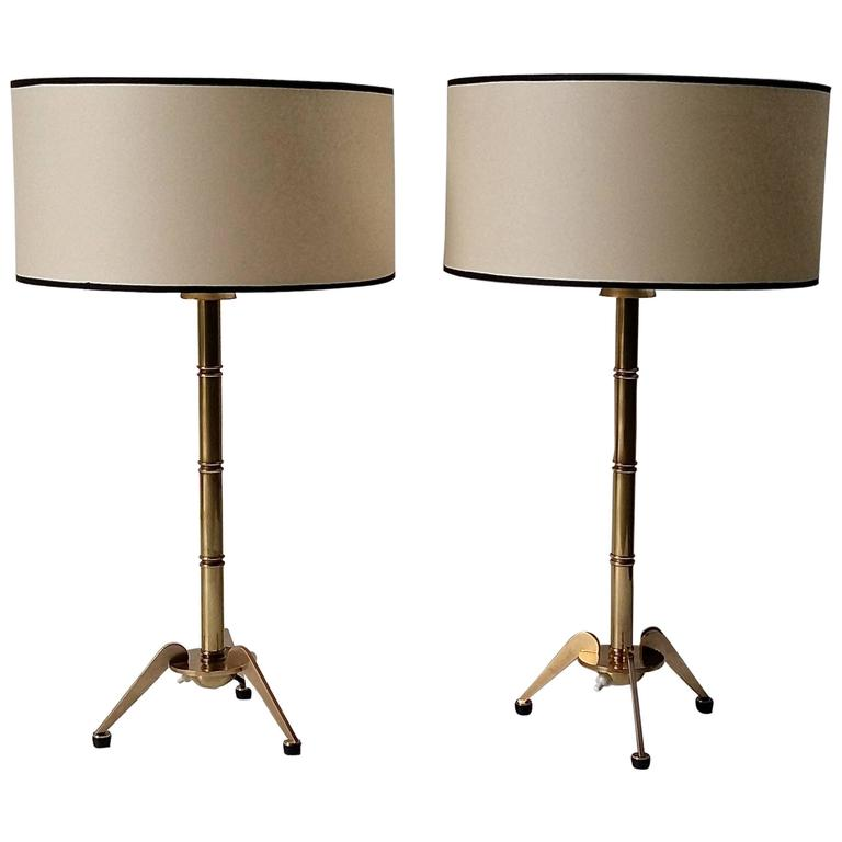 """Bamboo Oval Table Lamp: Pair Of 1950s """"Bamboo"""" Table Lamps By Maison Arlus At 1stdibs"""
