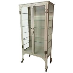 1920s Steel and Bevel Glass Medical Cabinet