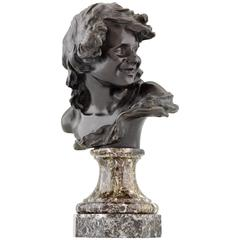 French Antique Bronze Bust of a Smiling Child by Injalbert, 1900