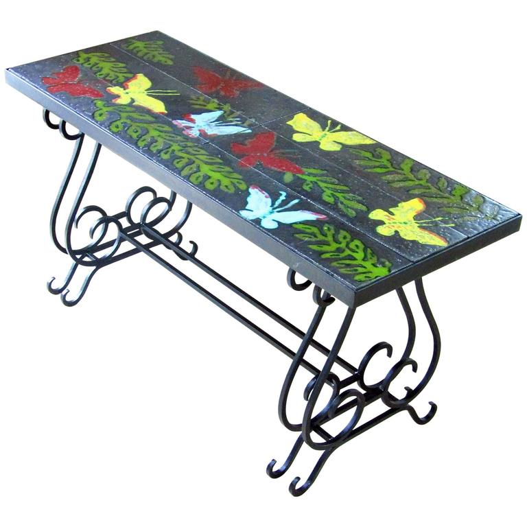 Mid Century Coffee Table With Lavastone Tiles From