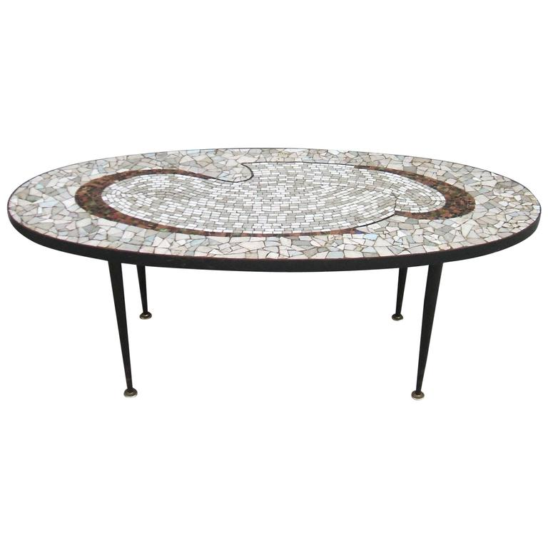 Mid-Century Tile Mosaic Top Coffee Table At 1stdibs