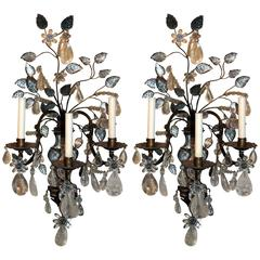Spectacular Pair Vintage Maison Baguès Gilt Rock Crystal Palatial Wall Sconces