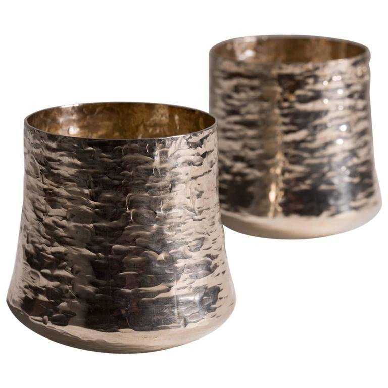 Tapio Wirkkala Hand-Hammered Cups, Sterling Silver, 1970s