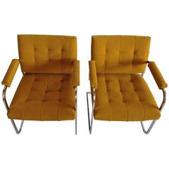 Pair of 1970s Flat Bar Chrome Upholstered Chairs