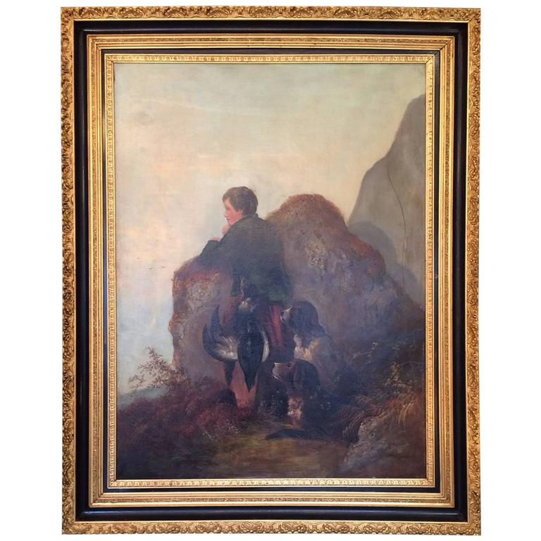 Large 19th Century Hunting Scene on Canvas