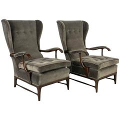 Pair of Wingback Lounge Chairs by Paolo Buffa, Italy, 1950s