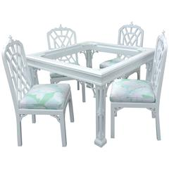Pagoda Vintage 4 pc set Dining Chairs Lacquered Palm Beach Game Table Fretwork