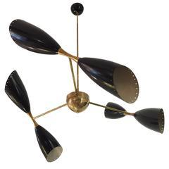 Stilnovo Style Brass Chandelier