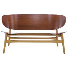 """Rare Danish Modern """"Shell"""" Settee Designed by Hans Wegner"""