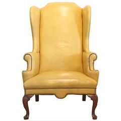 Mustard Yellow Leather Wing Chair