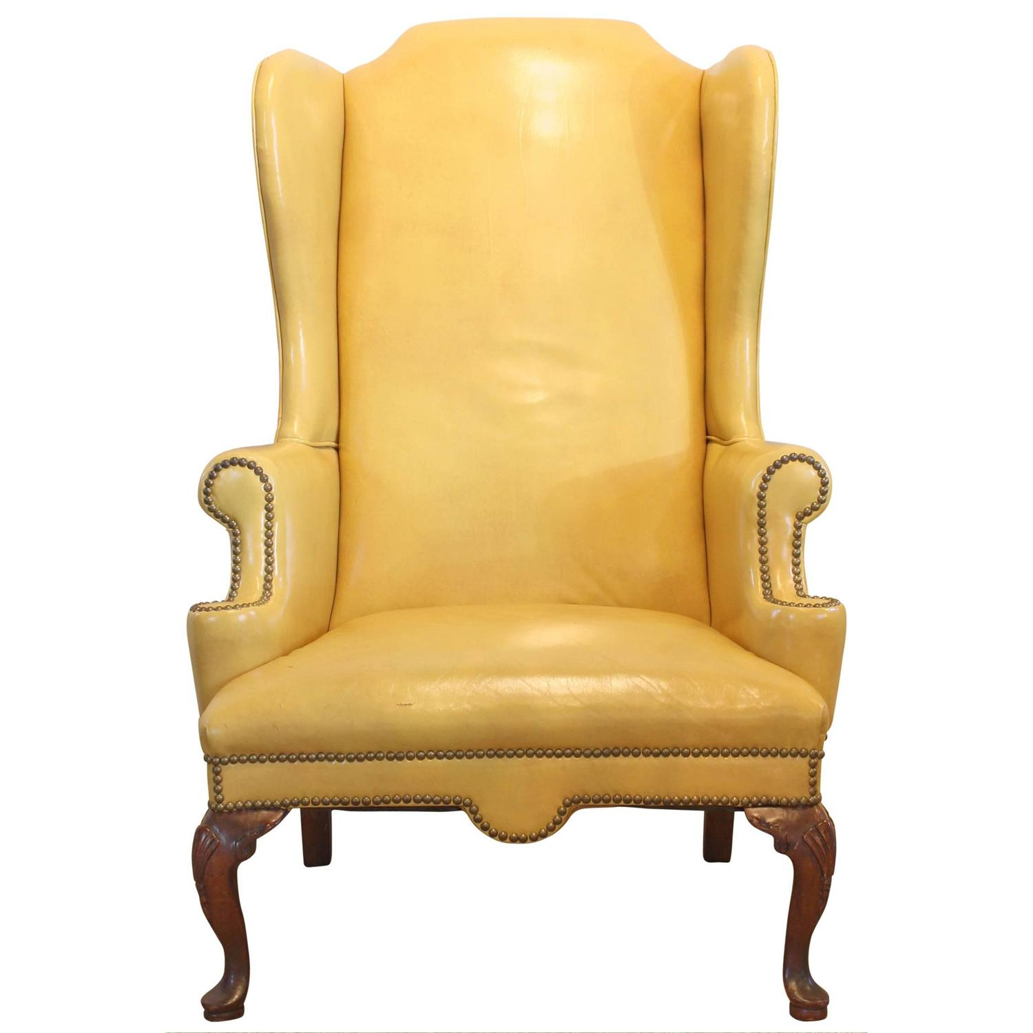 Mustard Yellow Leather Wing Chair at 1stdibs