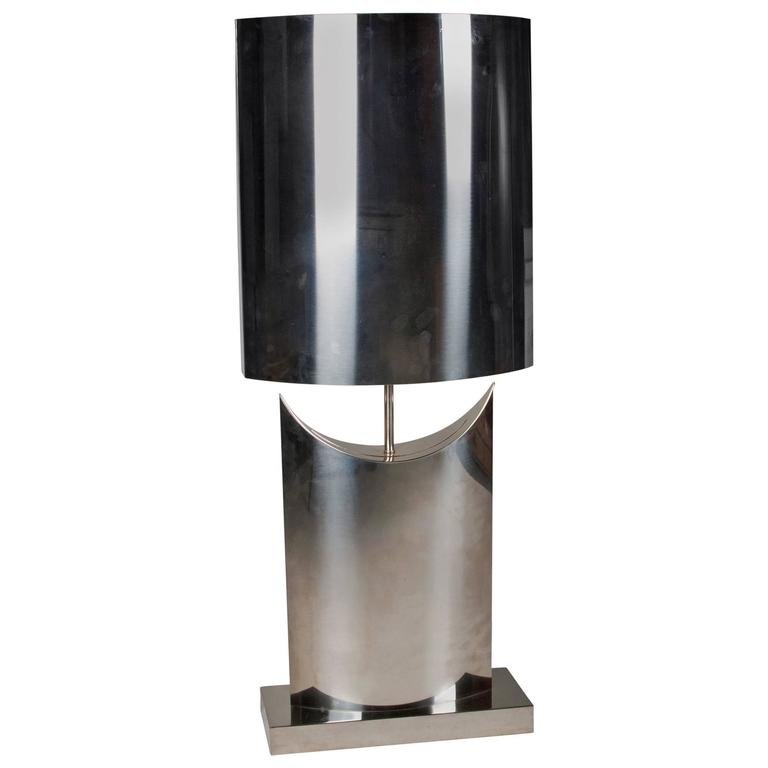 single stainless steel table lamp american 1970s at 1stdibs. Black Bedroom Furniture Sets. Home Design Ideas