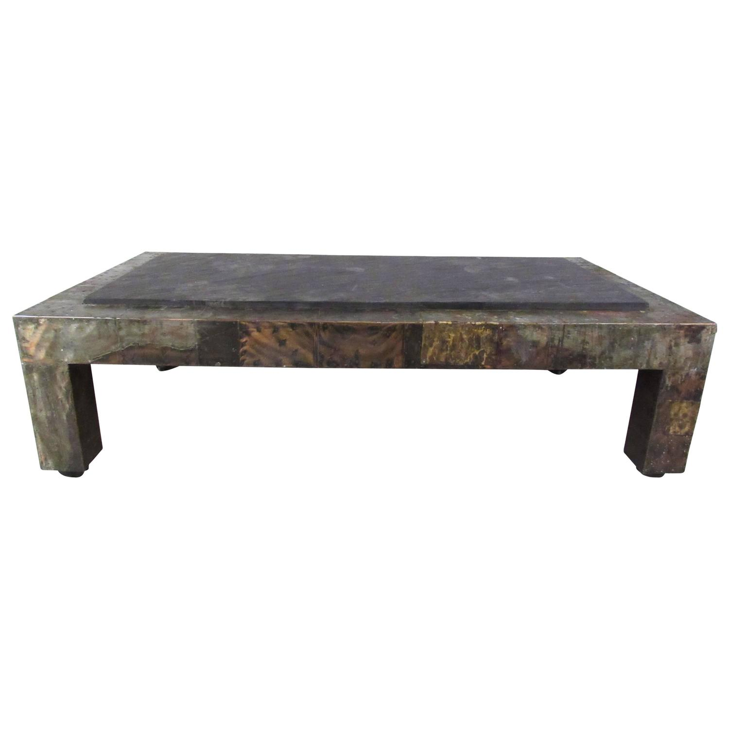 Mid Century Slate Top Patchwork Metal Coffee Table By Paul Evans For Sale At 1stdibs
