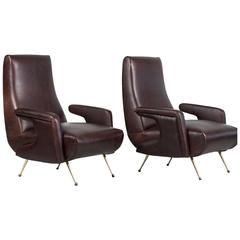 Italian Sculptural Leather Chairs